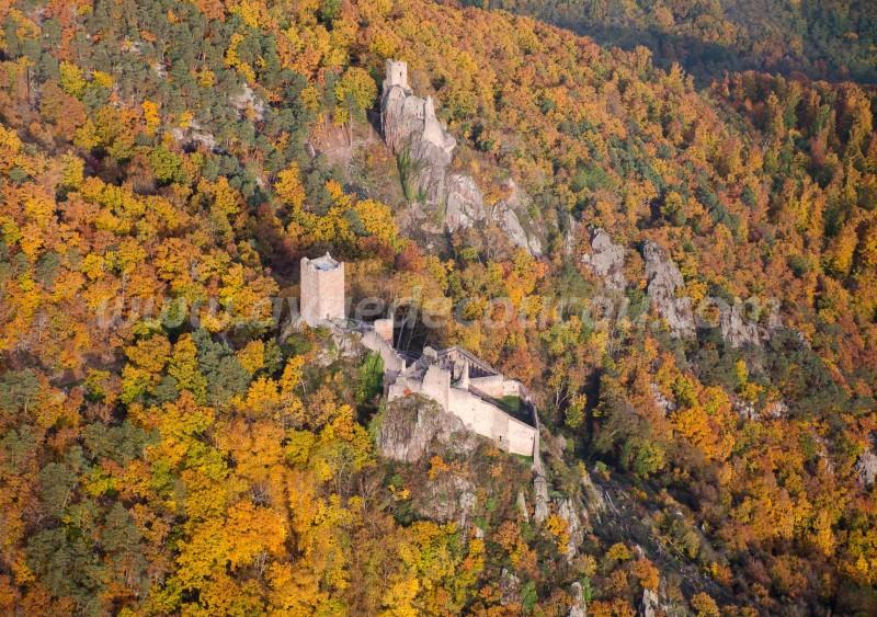 Château de Saint-Ulrich et Girsberg, Alsace, vus par ULM